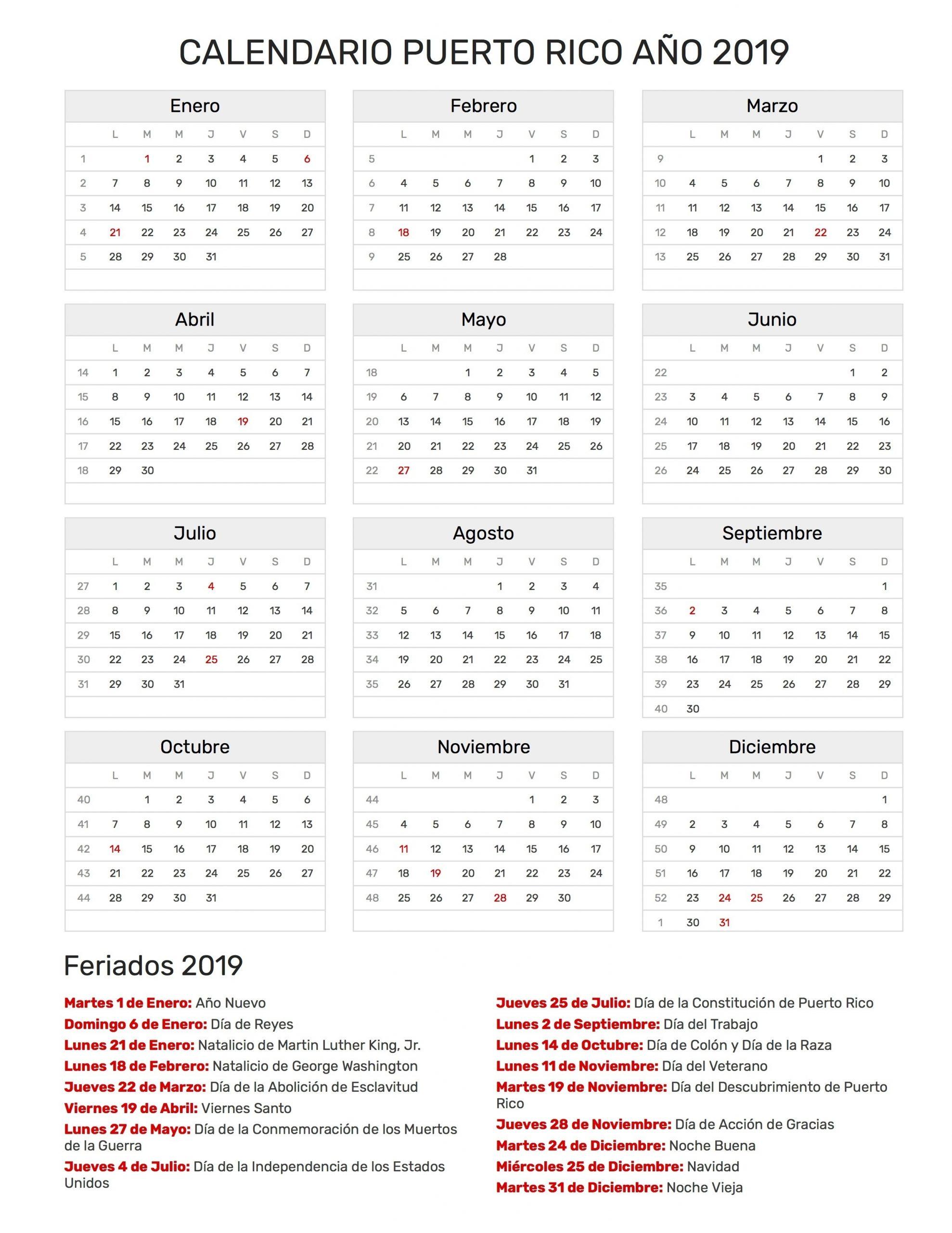 Calendario 2020 De Puerto Rico Para Imprimir - Calendario 2019