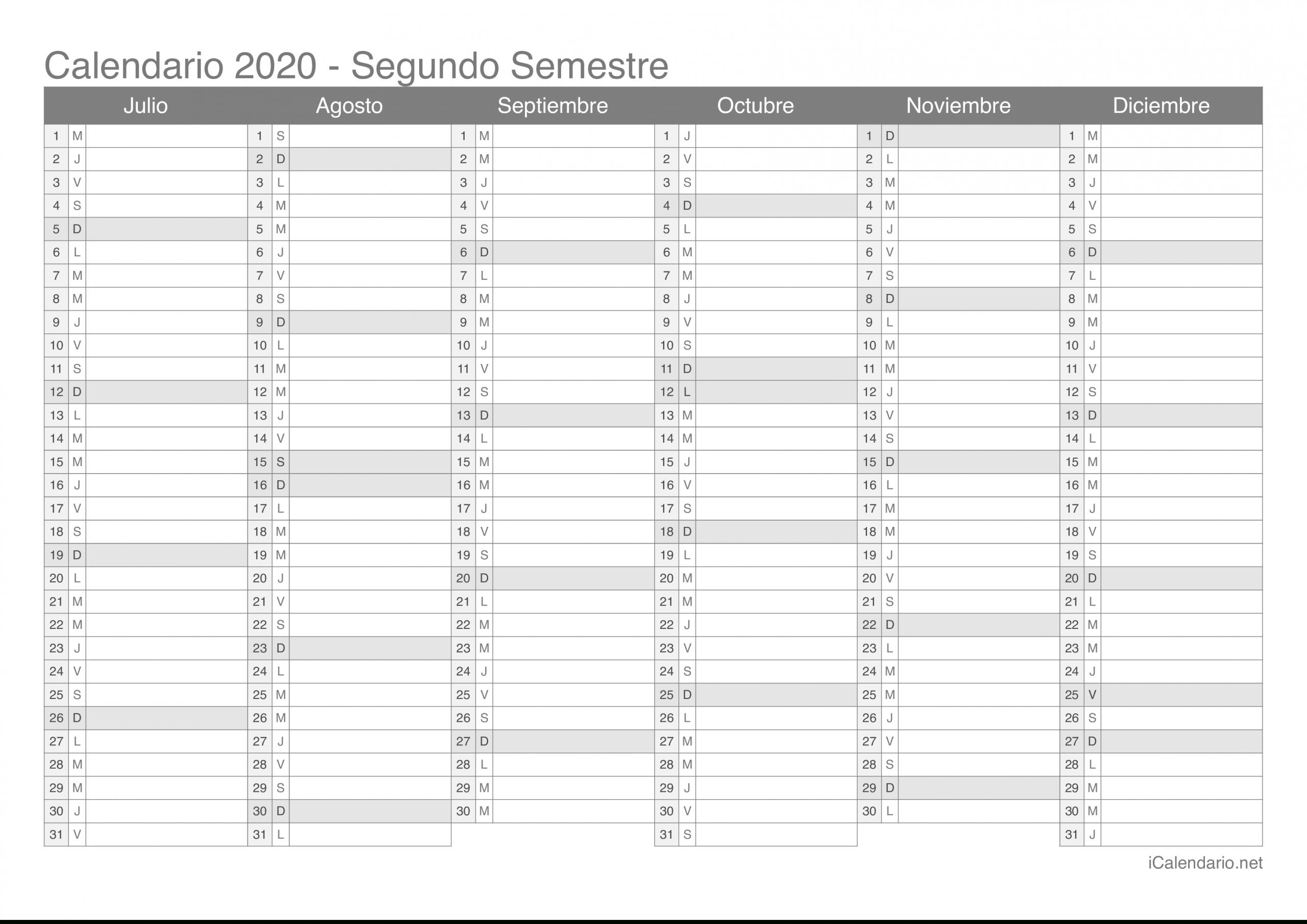 Calendario 2020 Para Imprimir - Icalendario