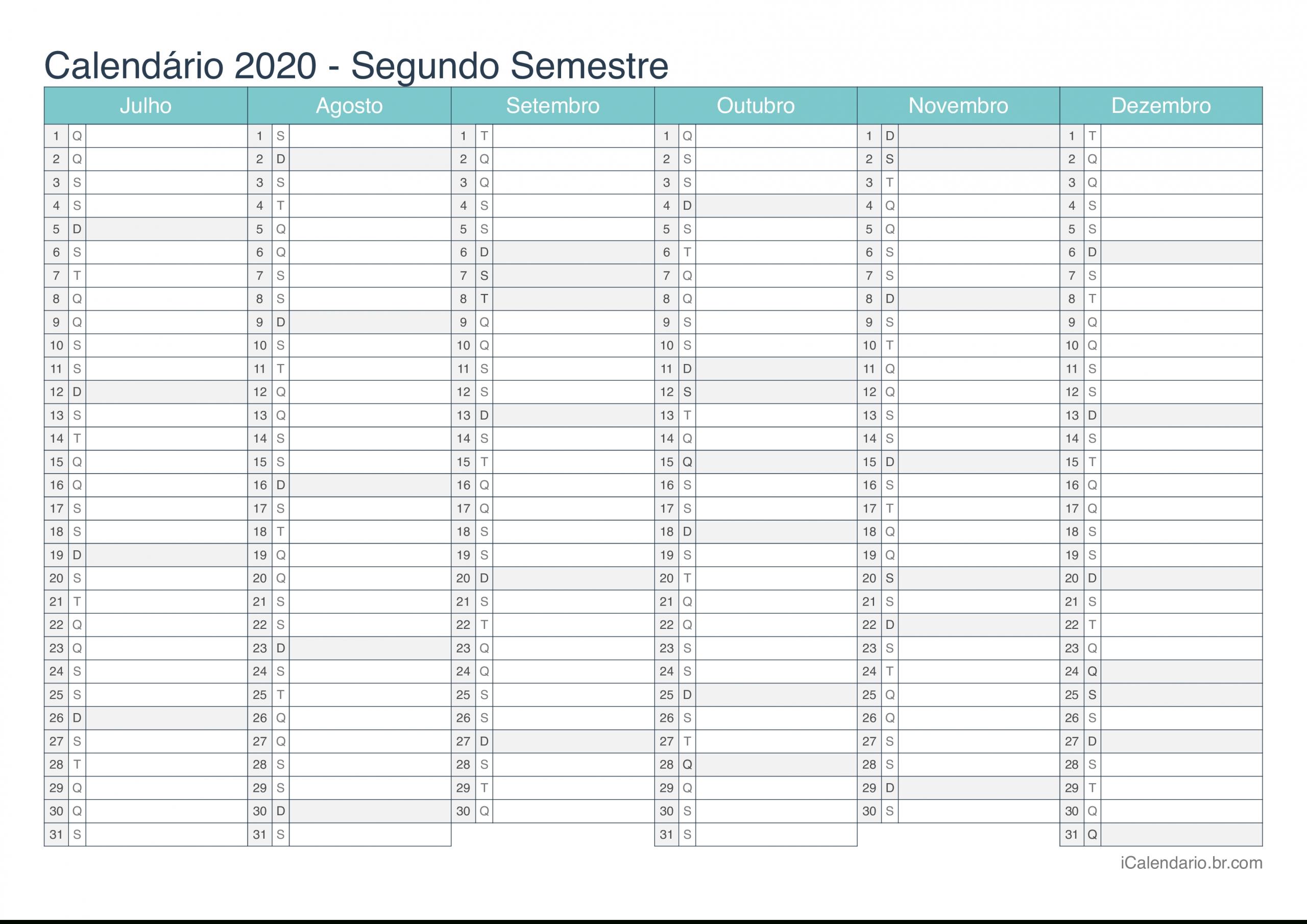 Calendário 2020 Para Imprimir - Icalendáriobr