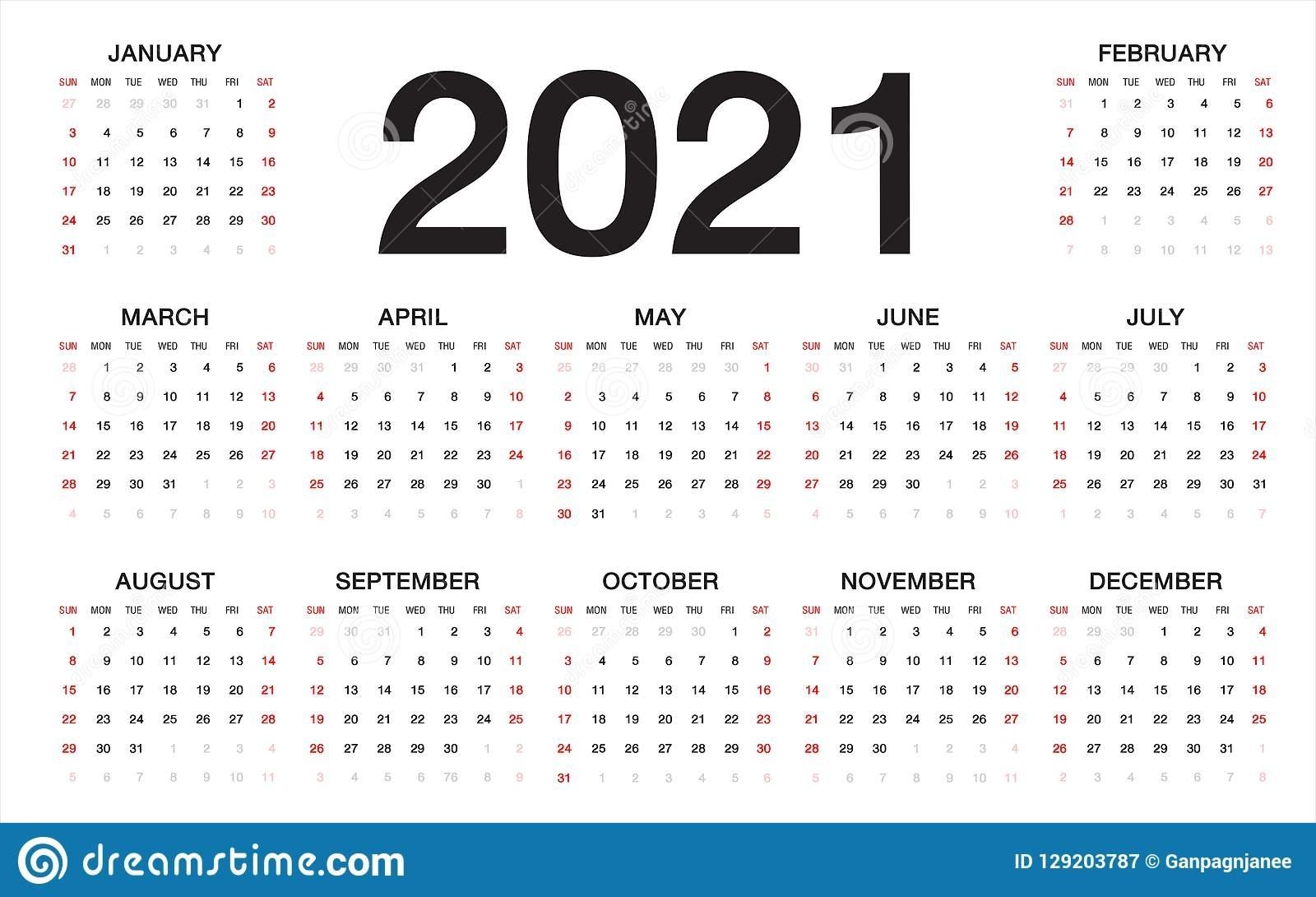 Calendario 2021, Comienzo De La Semana De Domingo, Plantilla