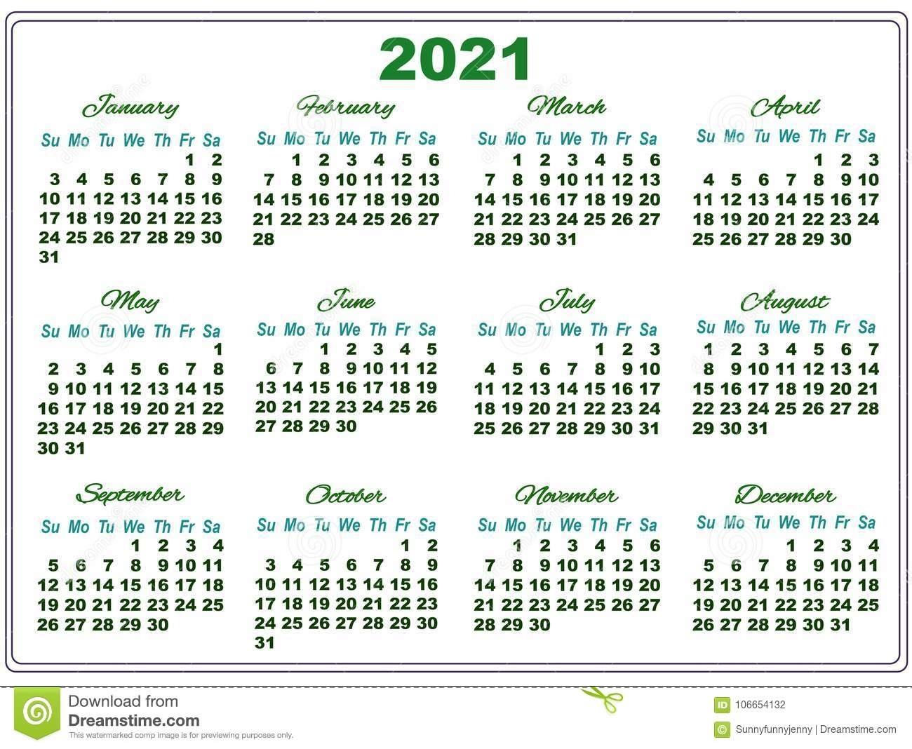 Calendario 2021 Con Números Grandes Stock De Ilustración