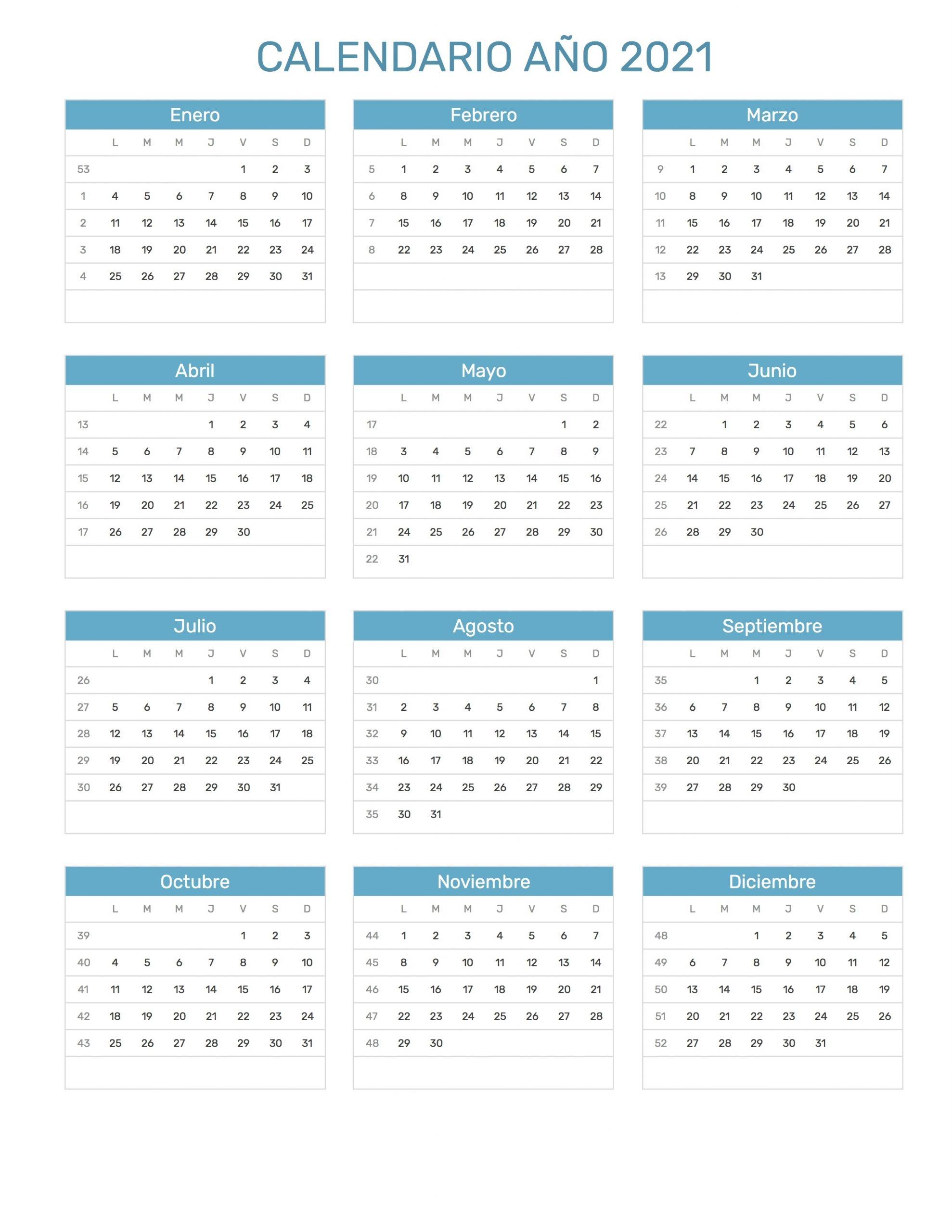 Calendario Año 2021