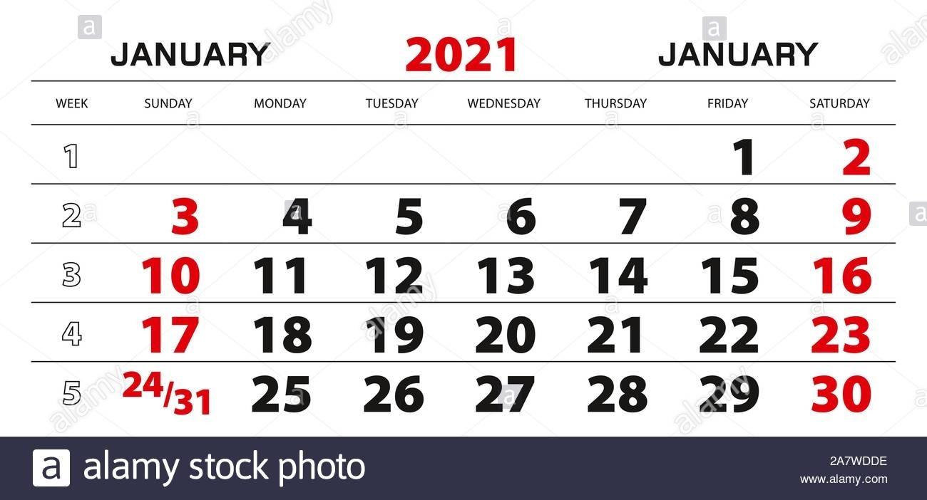 Calendario De Pared 2021 Para Enero, Inicio De La Semana