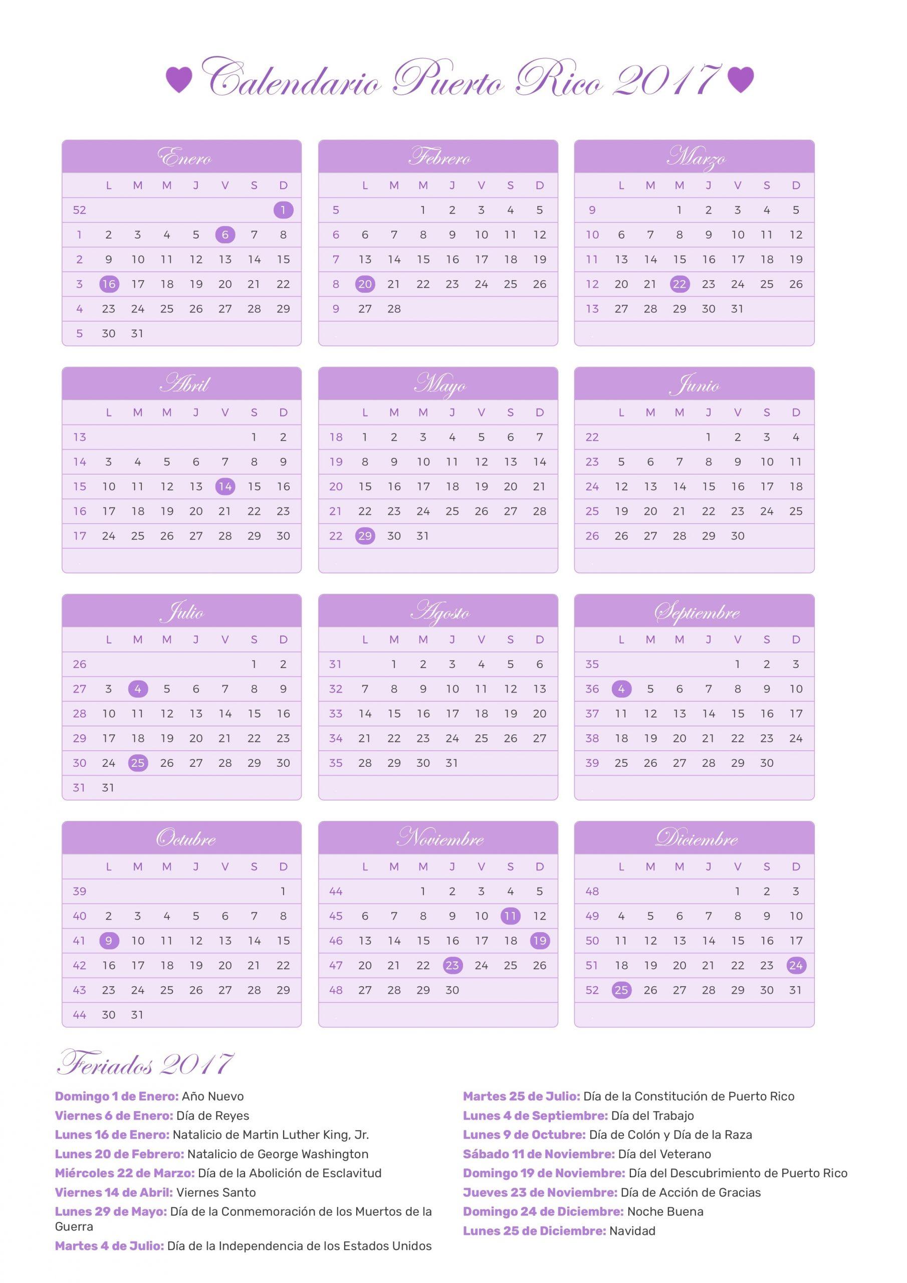 Calendario De Puerto Rico Año 2017 | Feriados | Feriados