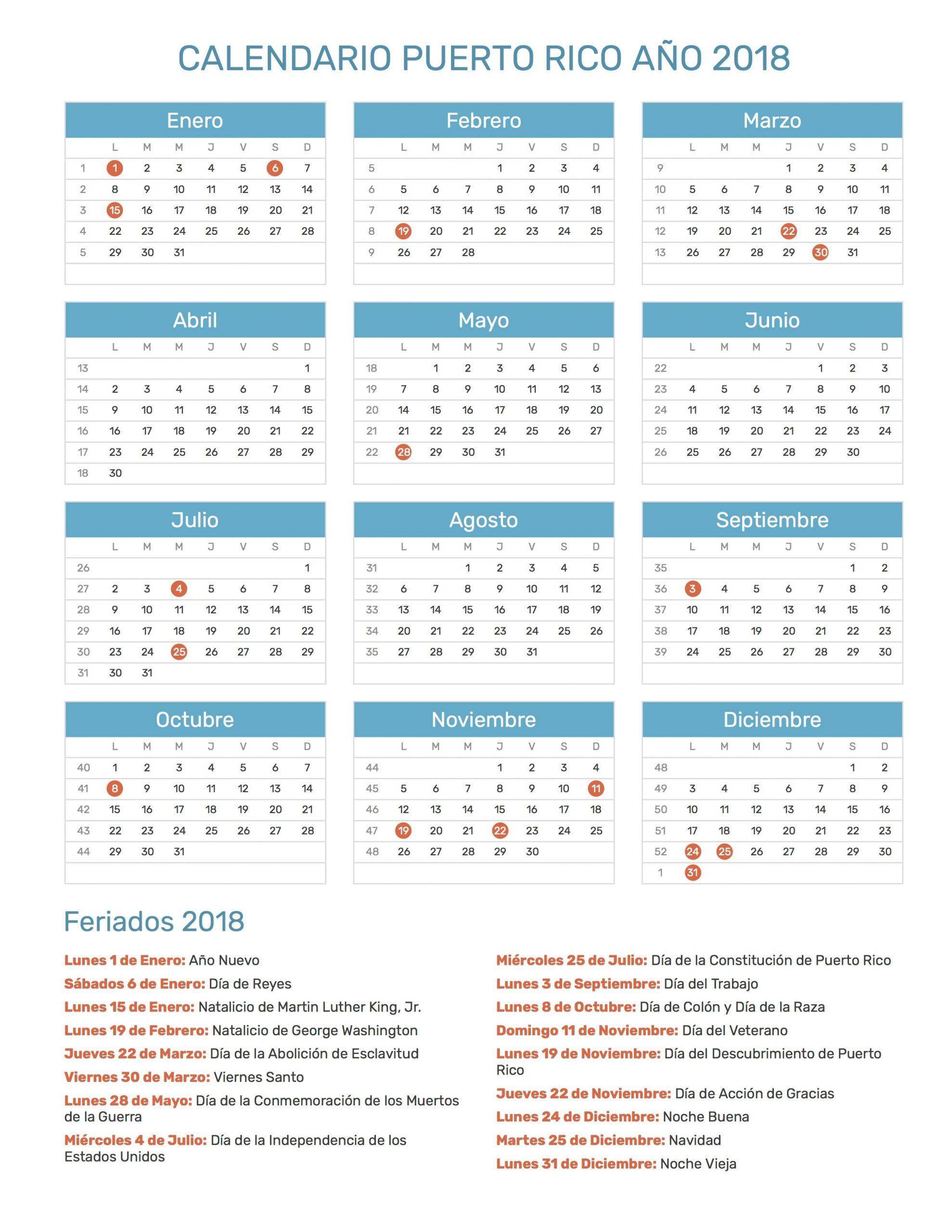 Calendario De Puerto Rico Año 2018 | Feriados
