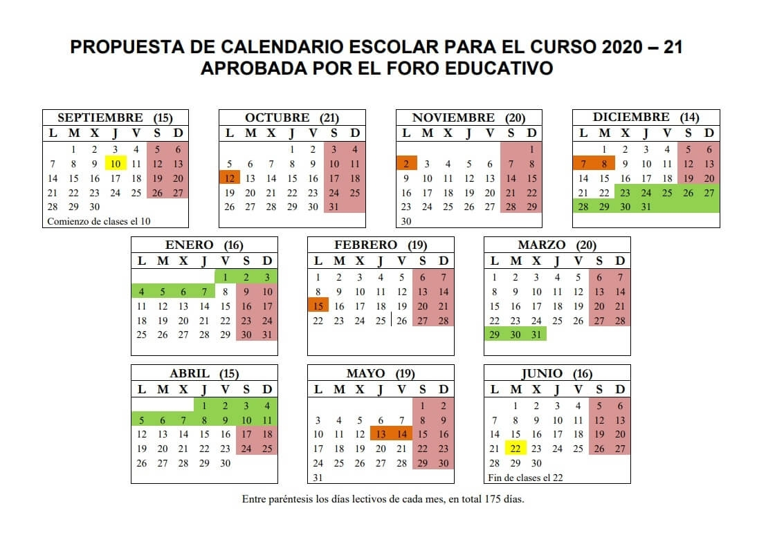 Calendario Escolar 2020-2021 En Ceuta 🗓️👨🎓 🏕️☀️