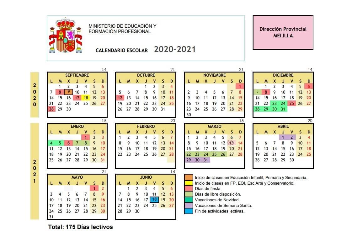 Calendario Escolar 2020-2021 En Melilla 🗓️👨🎓 🏕️☀️