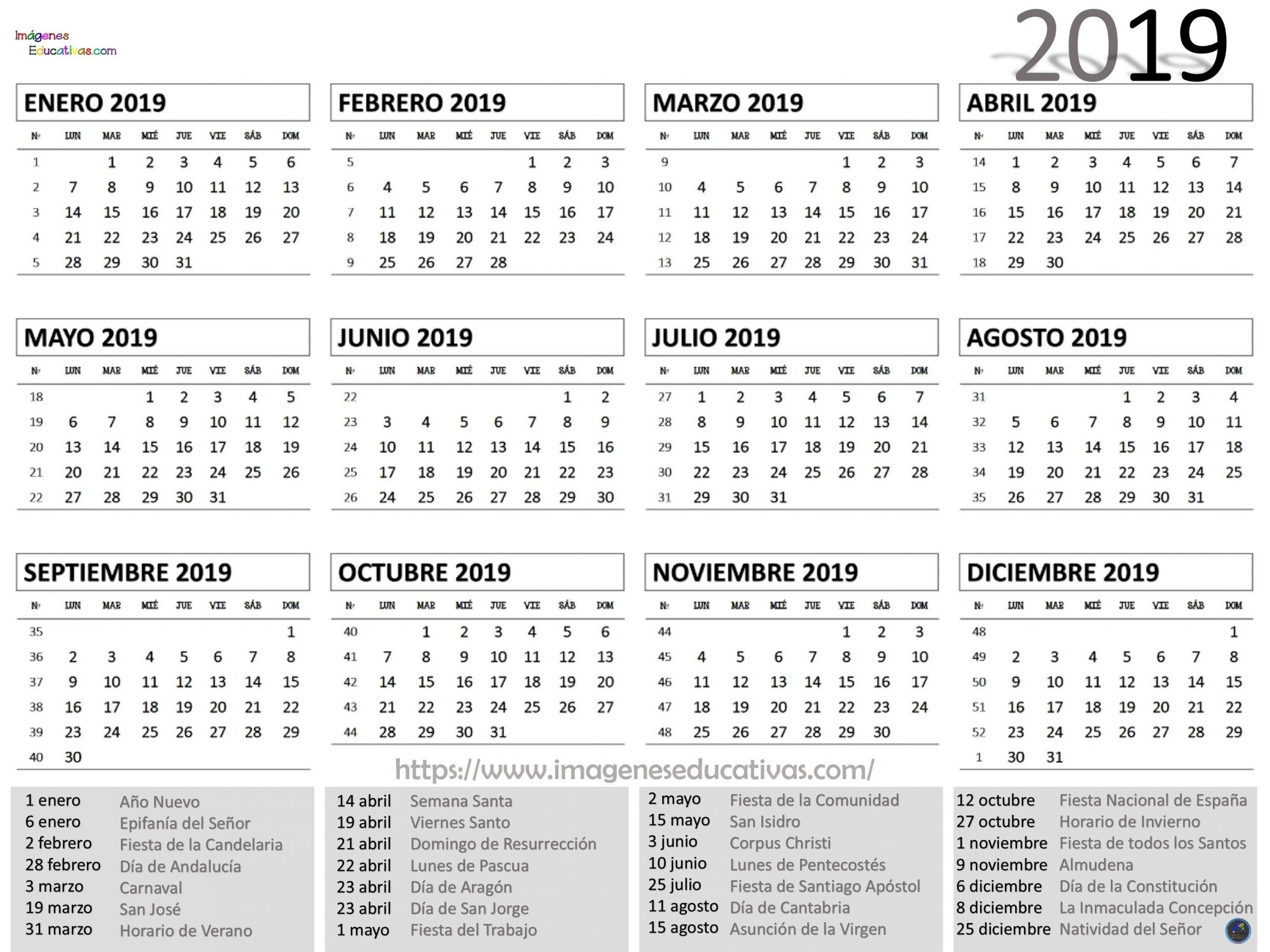 Calendario Juliano 2020 Para Imprimir - Calendario 2019