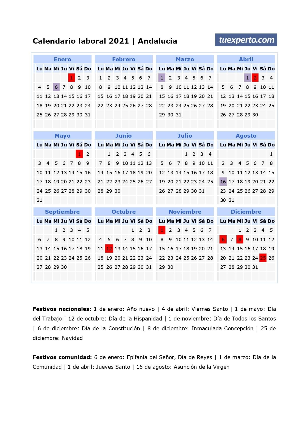 Calendario Laboral 2021, Calendarios Con Festivos Por