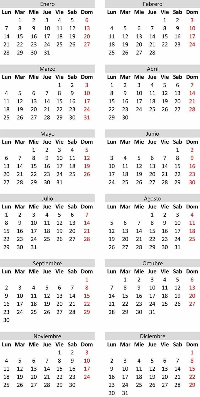 Calendario Perpetuo Para Cualquier Año Y Descarga Excel