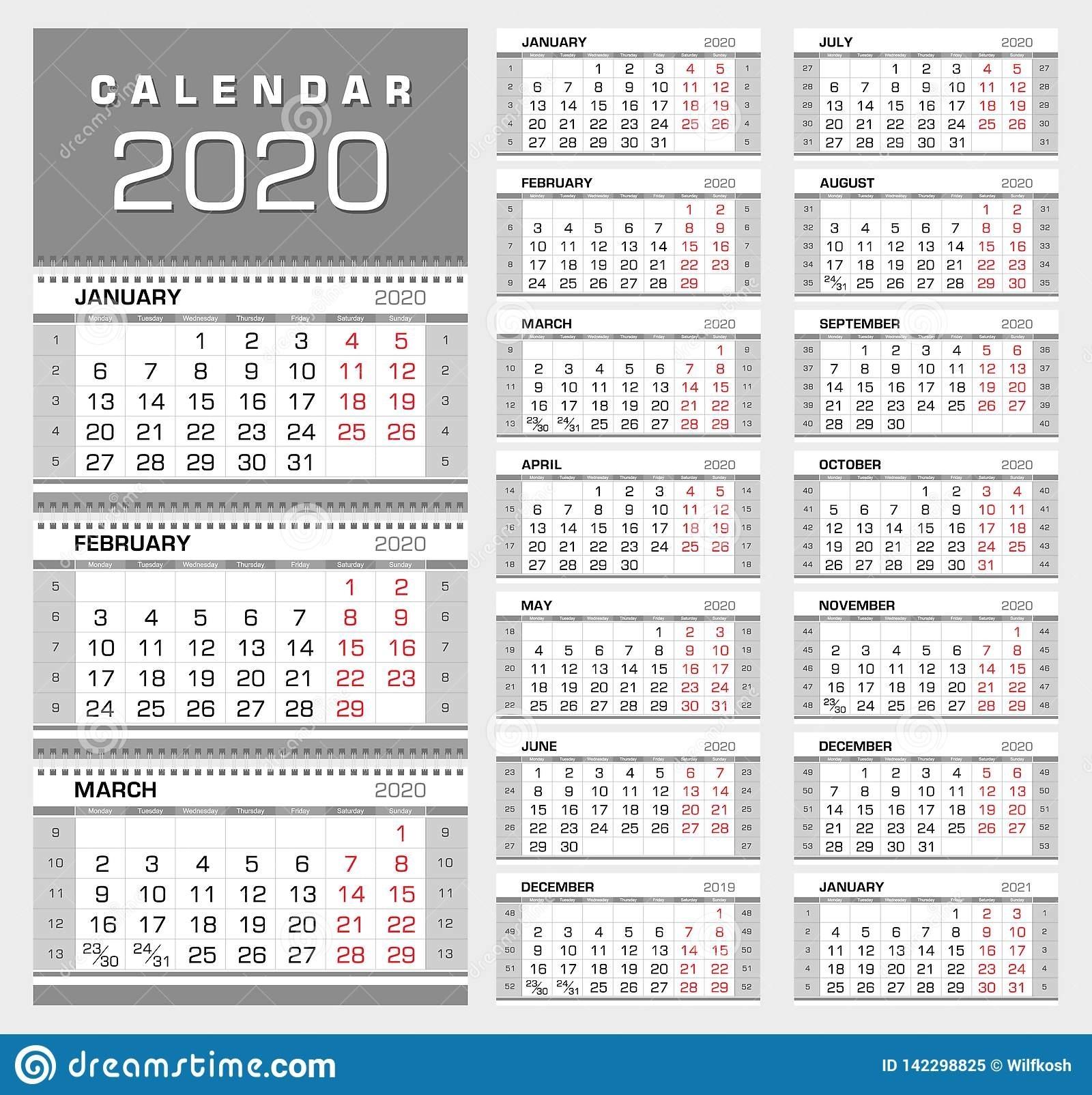 Calendario Trimestral 2020 De La Pared Con Números De La