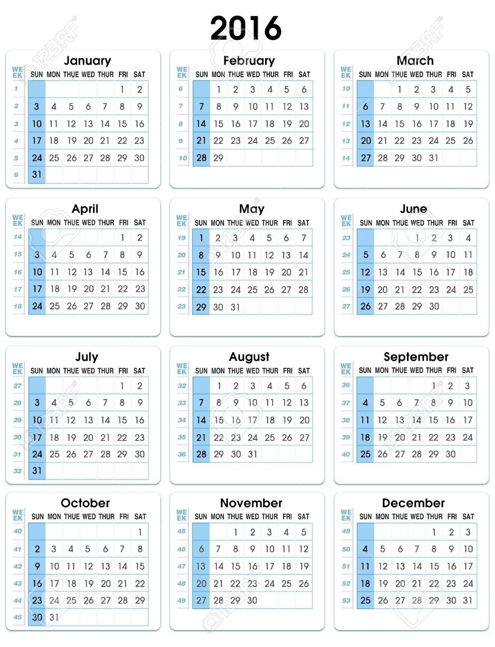 Calendario Vertical 2016 12 Meses, Indicando El Número De Semanas De  Calendario Vertical De 2016 Semanas