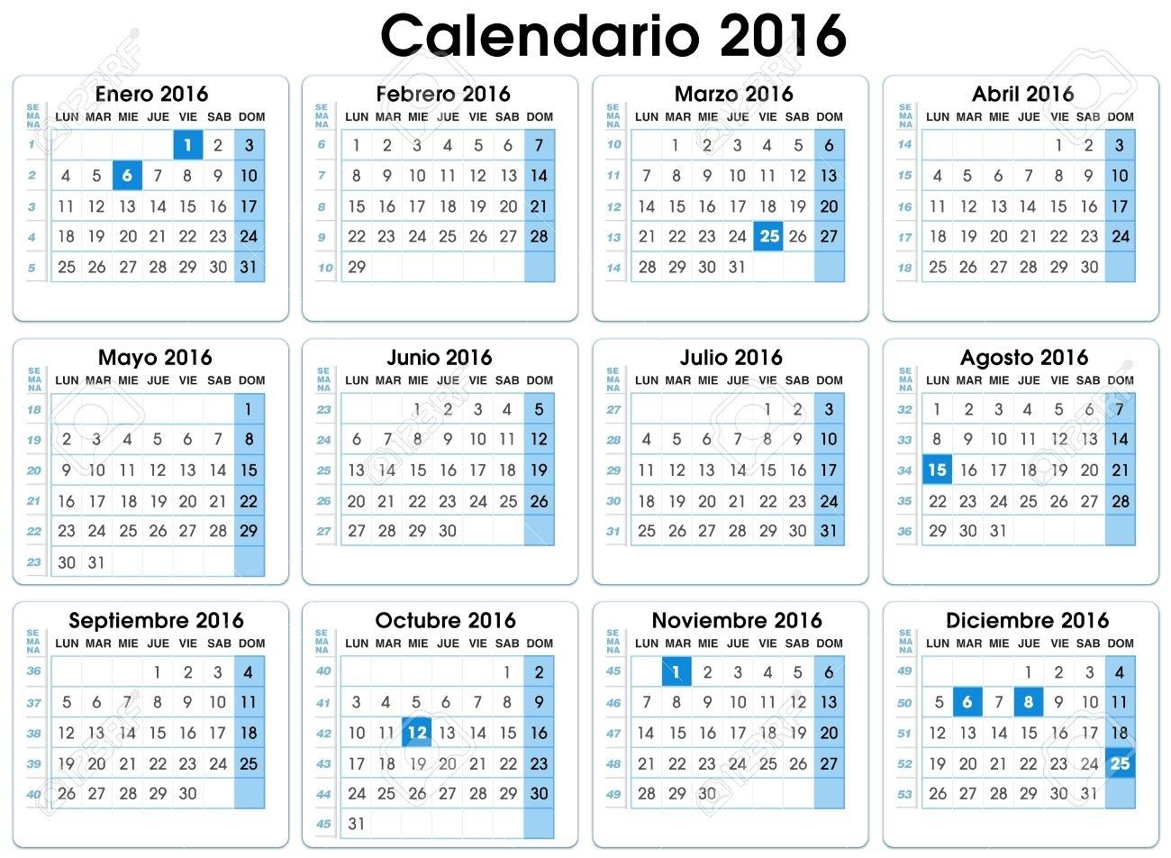 Calendario Vertical 2016 Española 12 Meses, Indicando Número De Semanas  Calendario 2016 Española Con Semana Y Fiestas