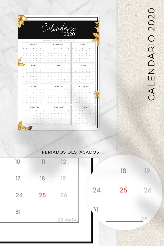 Calendários 2020 Para Imprimir - 4 Modelos | Apenas Detalhes
