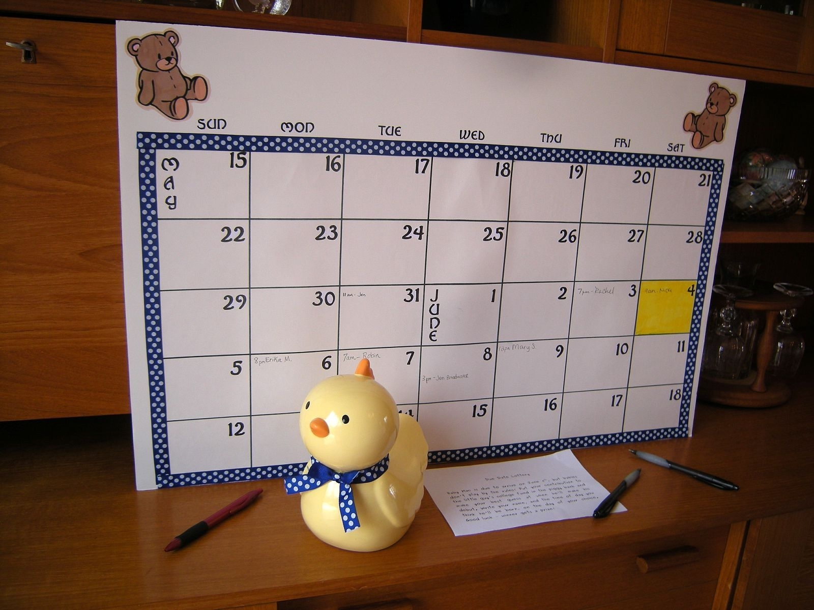 Calender - Baby Shower - Guess The Due Date | Baby Shower