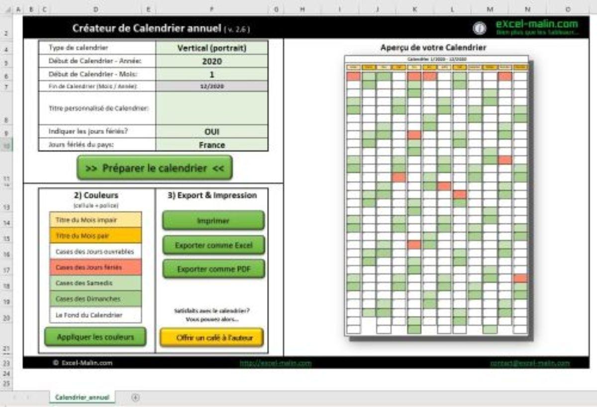 Calendrier 2020 Excel Modifiable Et Gratuit | Excel-Malin