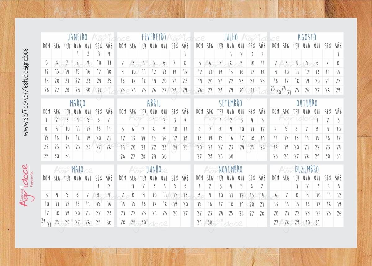 Cartela De Adesivos Calendário 2020