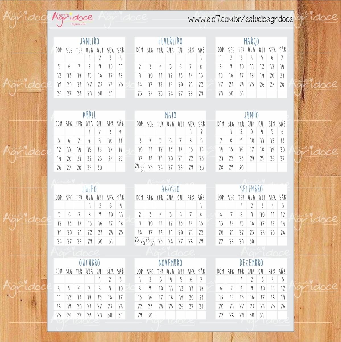Cartela De Adesivos Planner Bullet Journal Calendário 2020