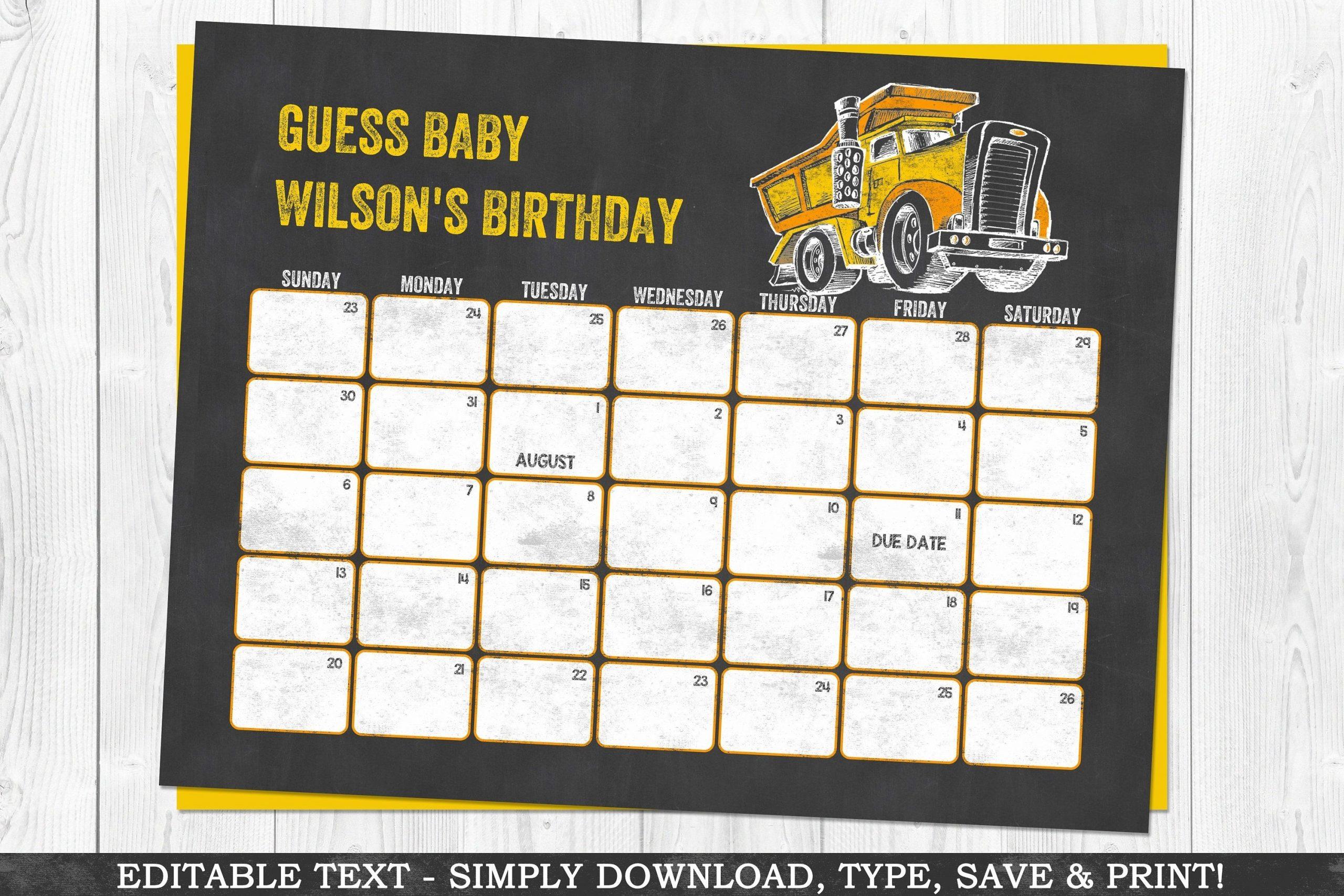 Construction Due Date Calendar Yellow Baby Shower Calendar
