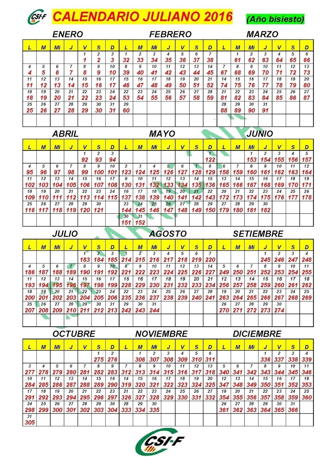 Csi-F Correos Tarragona: Calendario Juliano 2016
