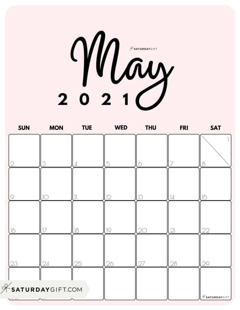 Cute (& Free!) Printable May 2021 Calendar | Saturdaygift