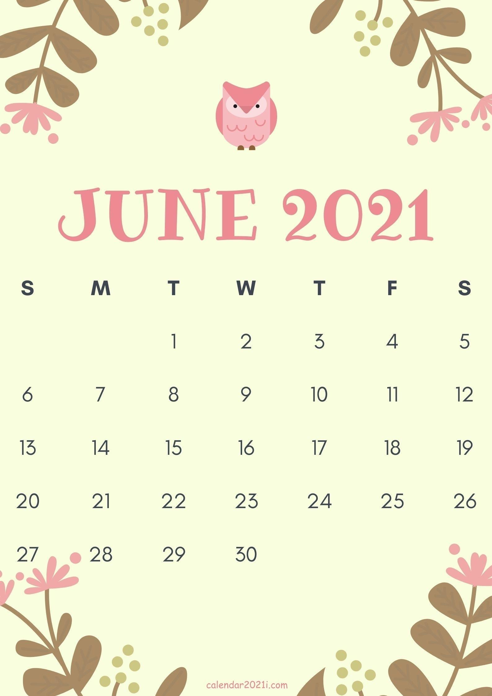 Cute June 2021 Calendar Design Theme Layout Free Download In