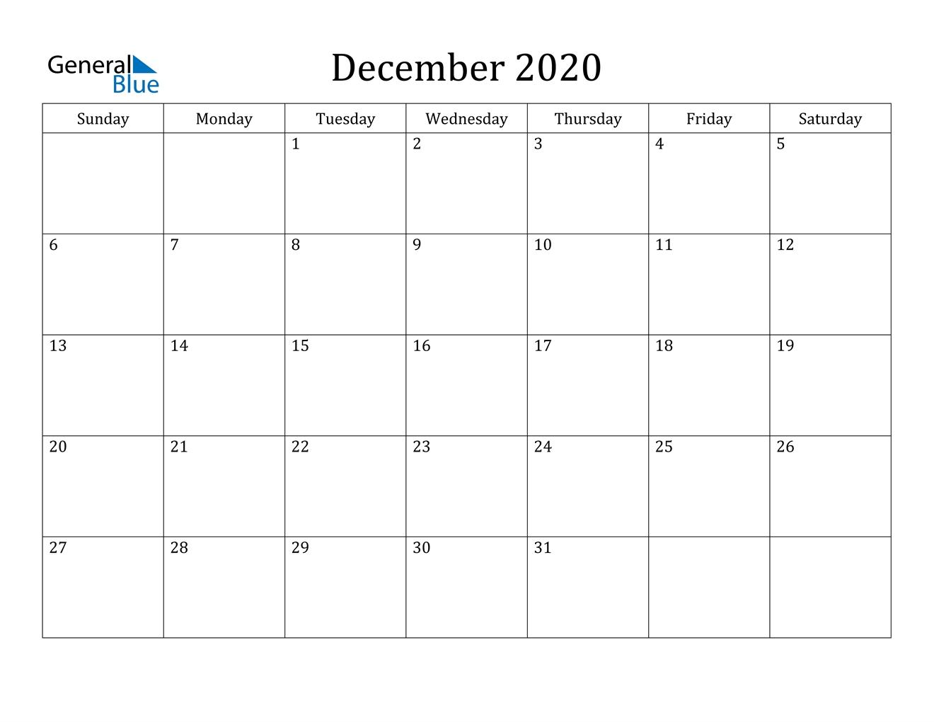 December 2020 Calendar - Pdf Word Excel