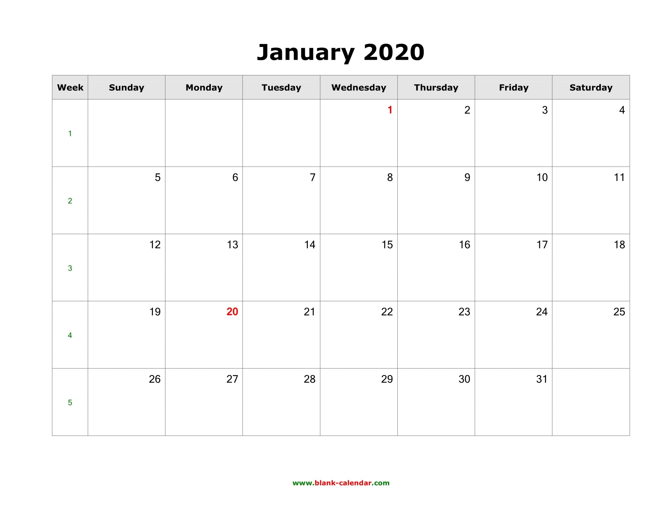 Download Blank Calendar 2020 (12 Pages, One Month Per Page
