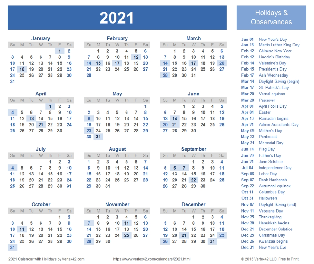 Download Free Printable 2021 Calendar Templates That You Can