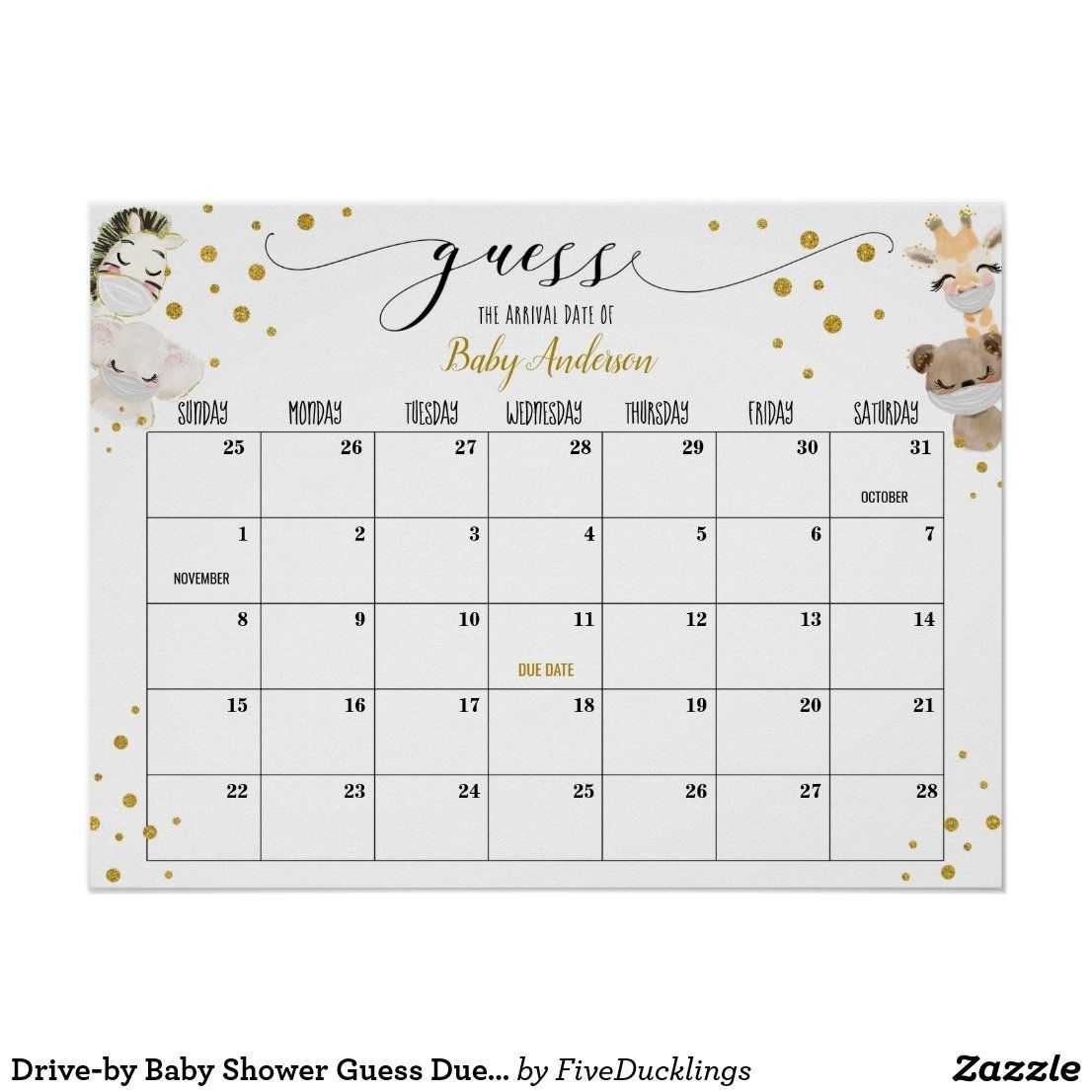 Drive-By Baby Shower Guess Due Date Calendar Poste Poster
