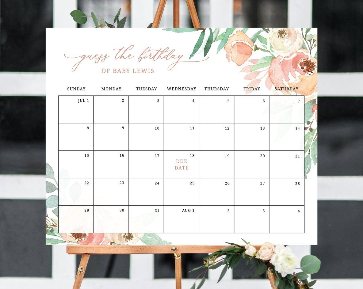 Due Date Calendar Template, Baby Shower Calendar, Baby Due