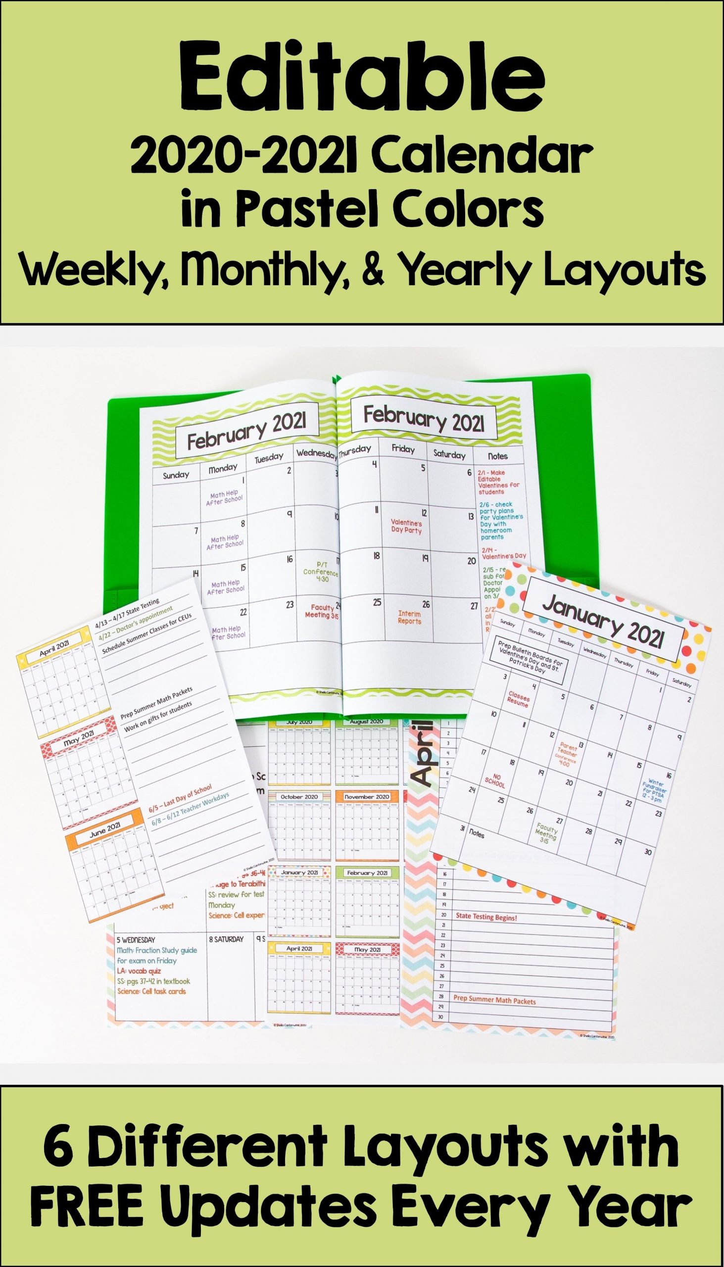 Editable 2020-2021 Pastel Calendar With 6 Layouts And Free