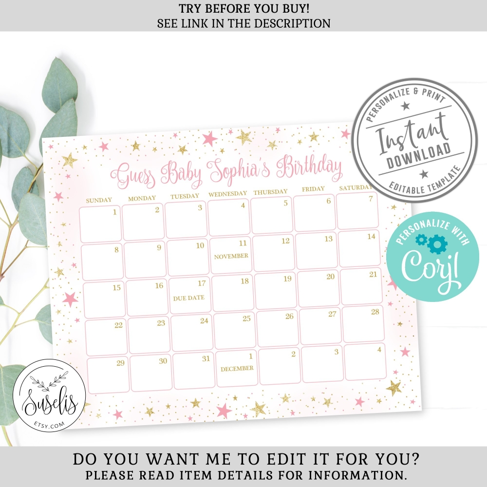 Editable Baby Due Date Calendar Game Sign, Printable Baby