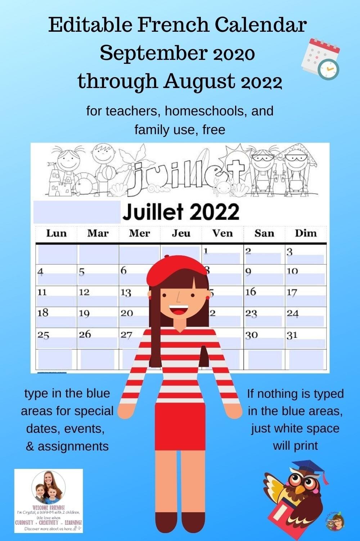 Editable French Calendar Sept 2020 -Aug 2022 | Castle View