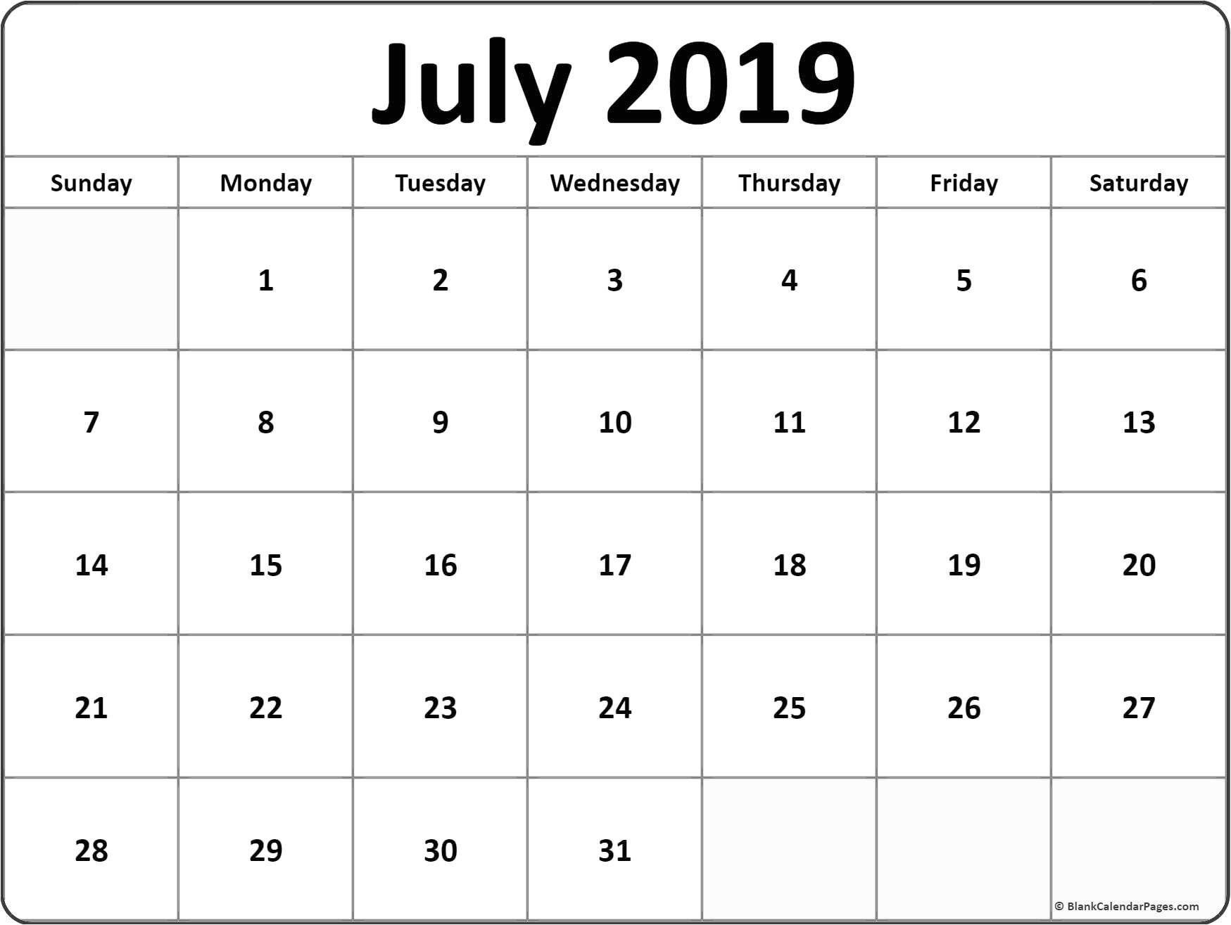 Editable July Calendar 2019 Template | Printable Calendar
