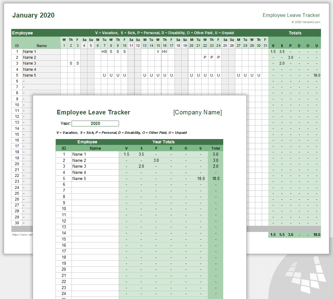Employee Leave Tracker Template - Leave Schedule