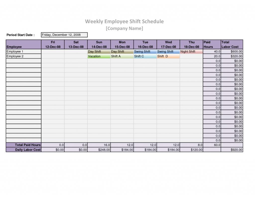 Employee Schedule Spreadsheet Template Free Printable