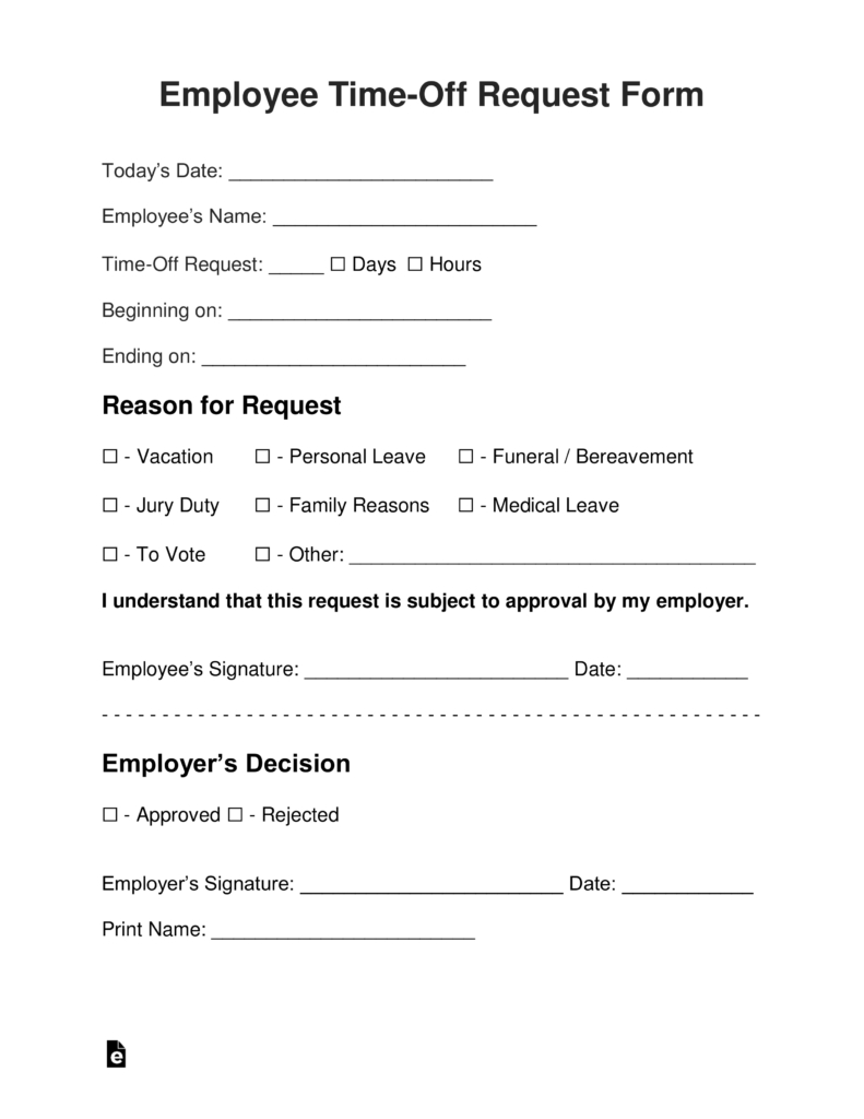Employee Time-Off (Vacation) Request Form | Eforms – Free