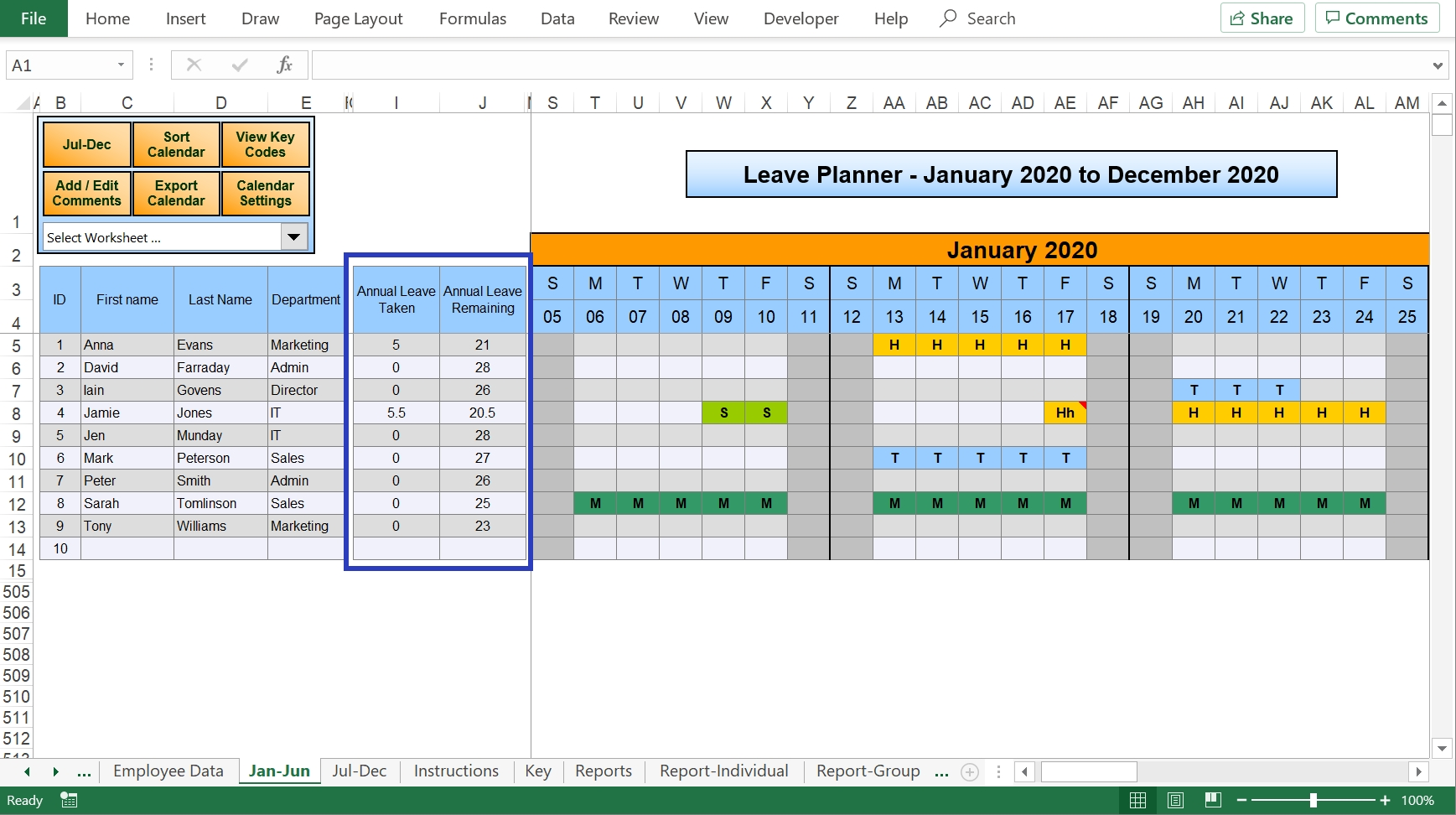 Excel Holiday Planner - Staff Holiday Management