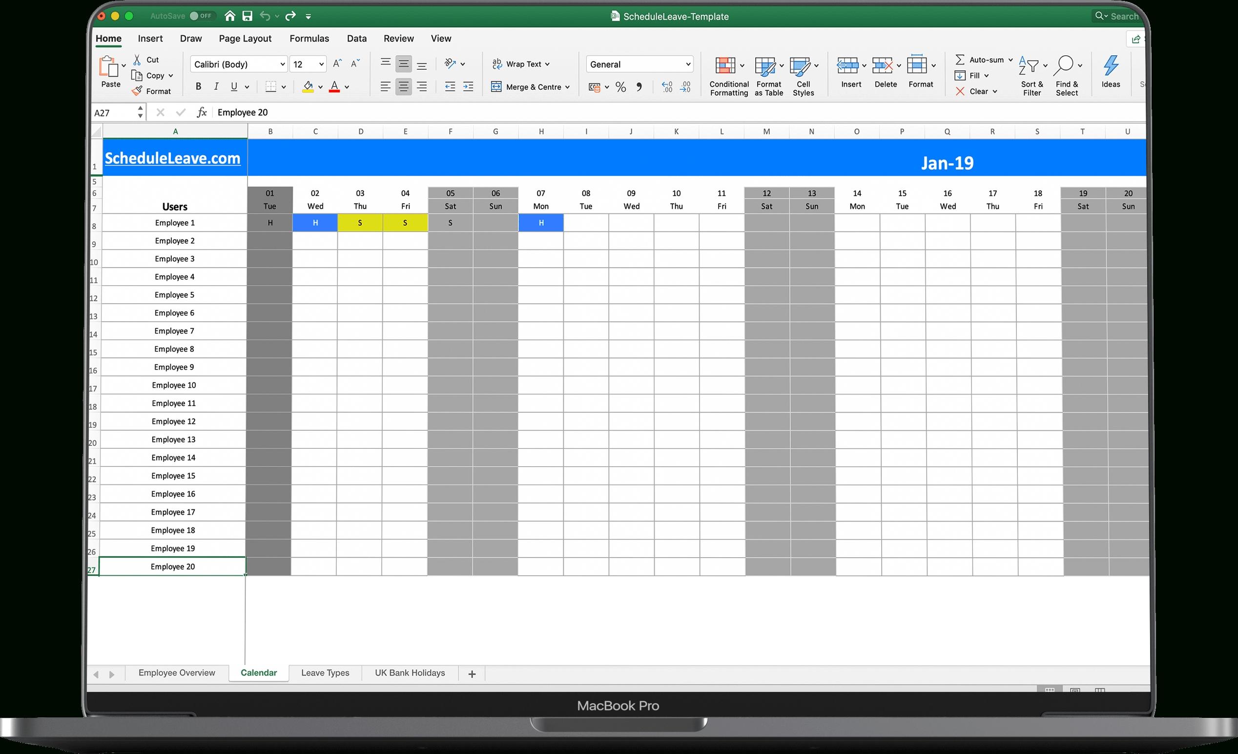 Excel Op Ree Leave Calendar Spreadsheet Template Templates
