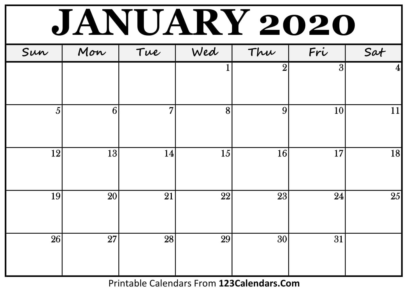 Exceptional Blank Calendar Template 2020 No Weekends | Free