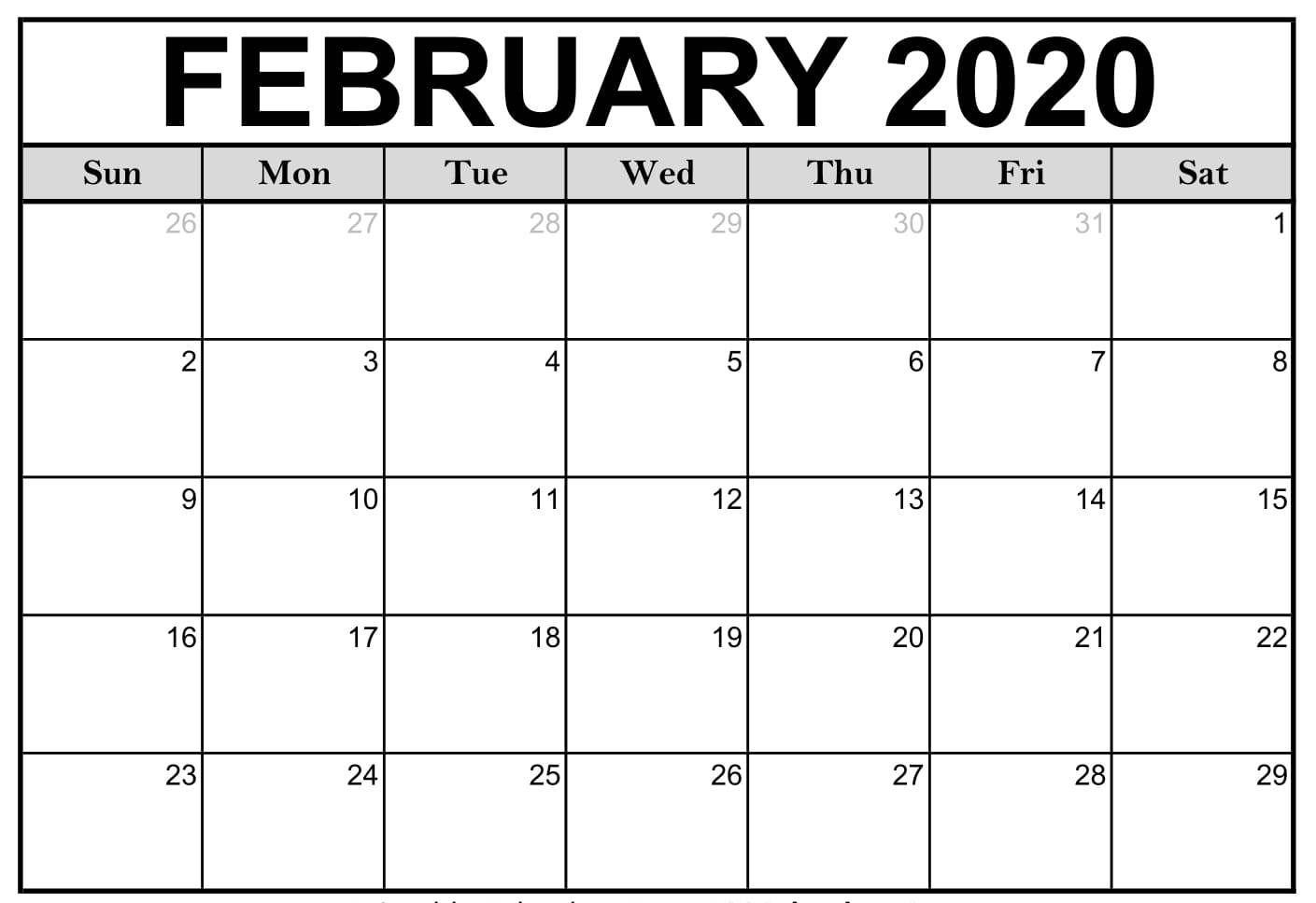 February 2020 Printable Calendar | Calendar Printables