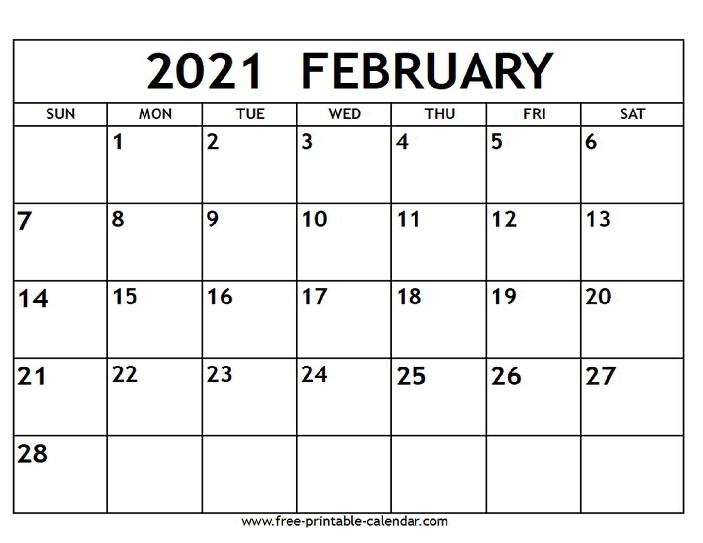 February 2021 Calendar - Free-Printable-Calendar