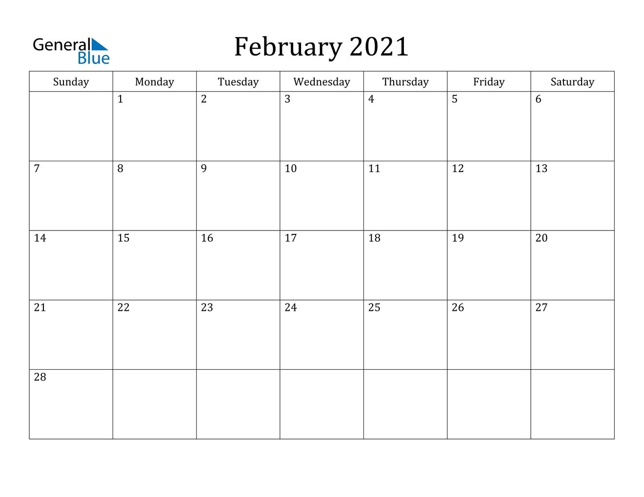 February 2021 Calendar - Pdf Word Excel