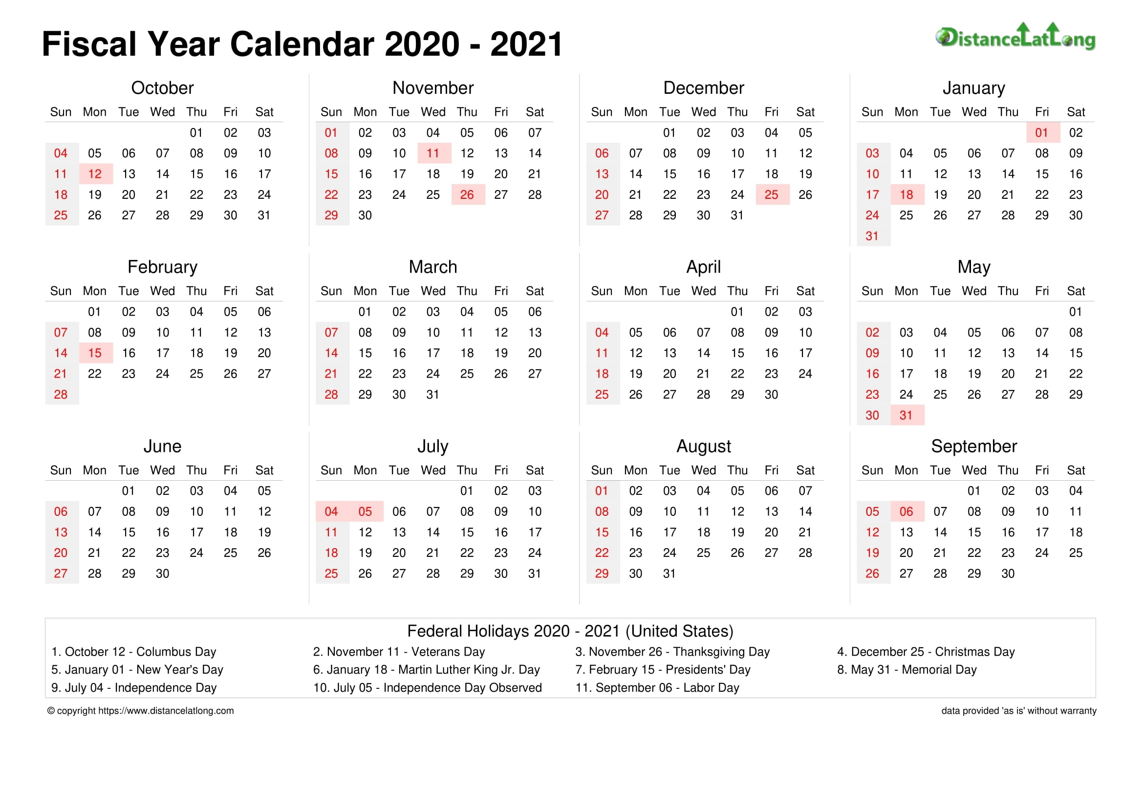 Fiscal Year 2020-2021 Calendar Templates, Free Printable