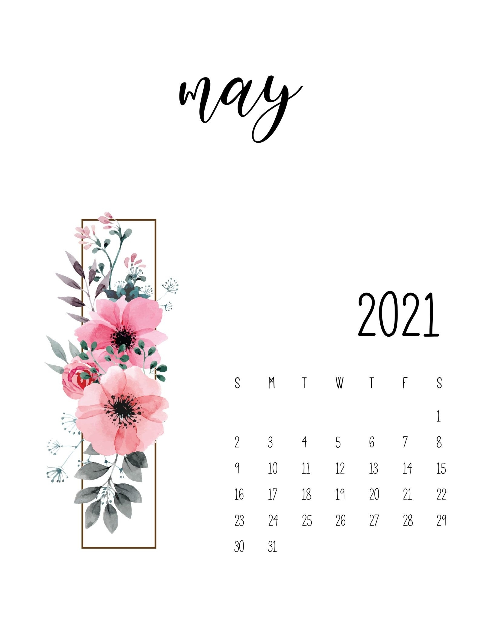 Floral 2021 Calendar Free - World Of Printables Di 2020