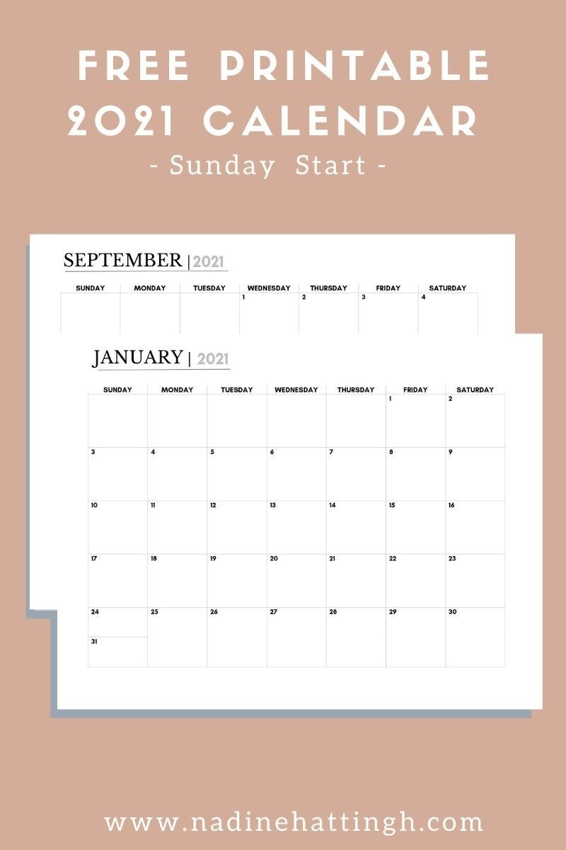 Free 2021 Printable Calendar | Nadine Hattingh In 2020