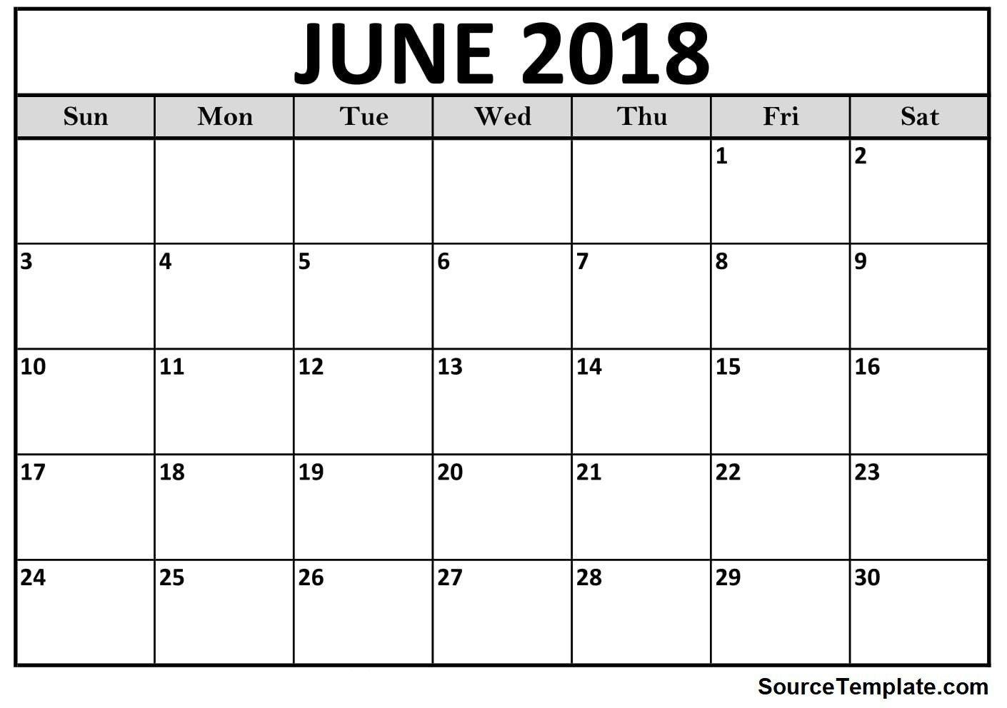 Free 5+ June 2018 Calendar Printable Template Pdf - Source