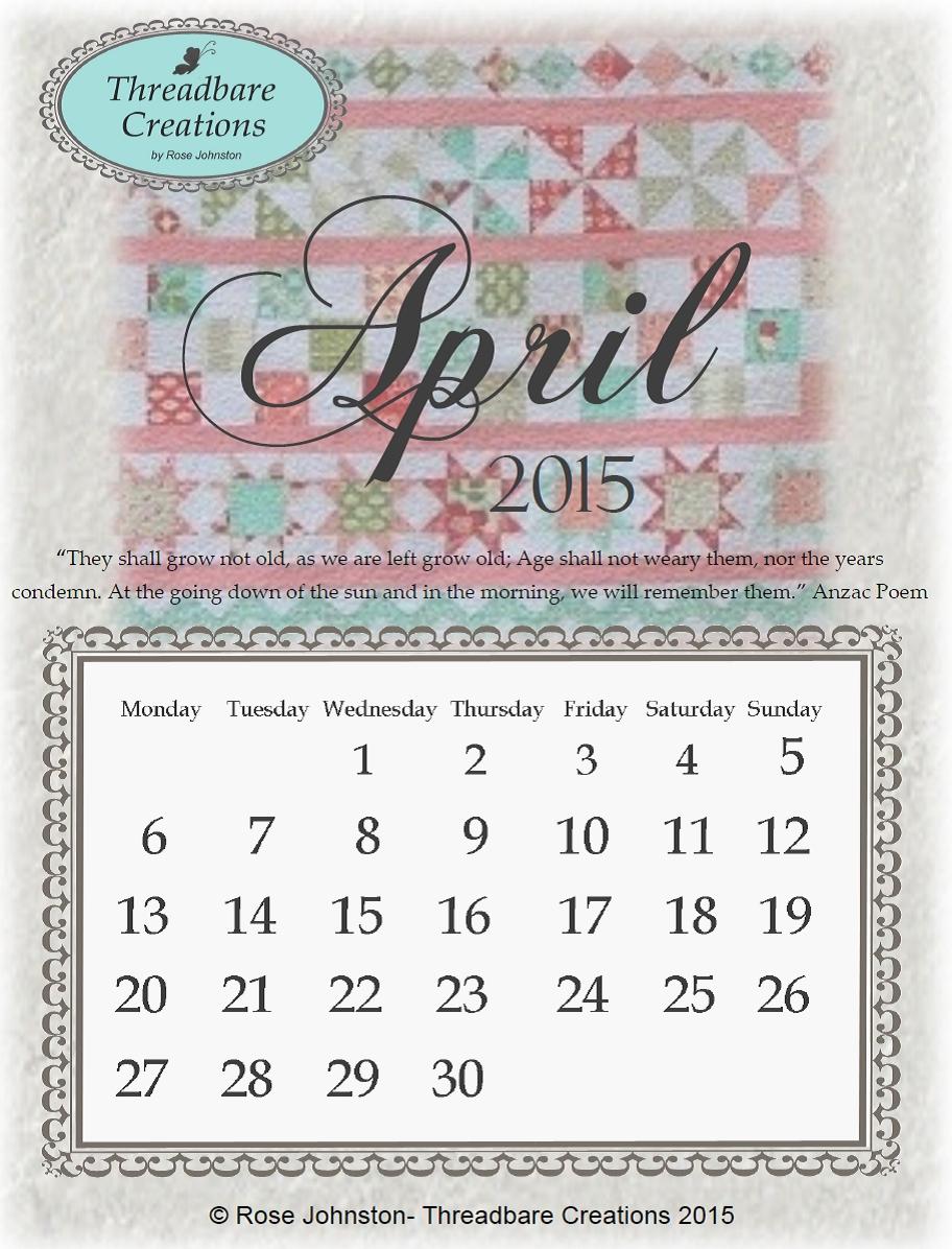 Free April 2015 Calendar - Threadbare Creations