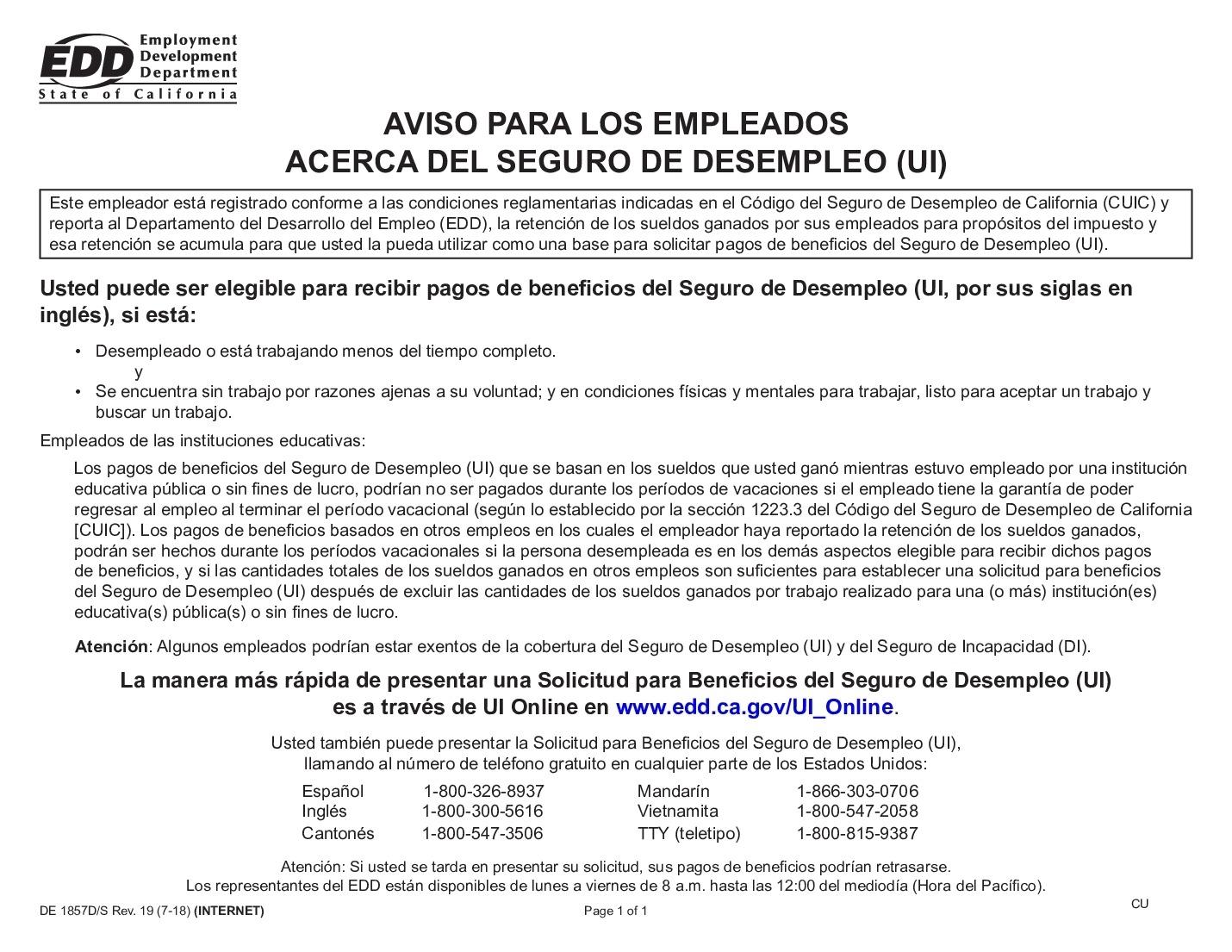 Free California California Unemployment Insurance Spanish